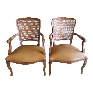 20th Century Louis XV Style Cane Back Chairs - a Pair