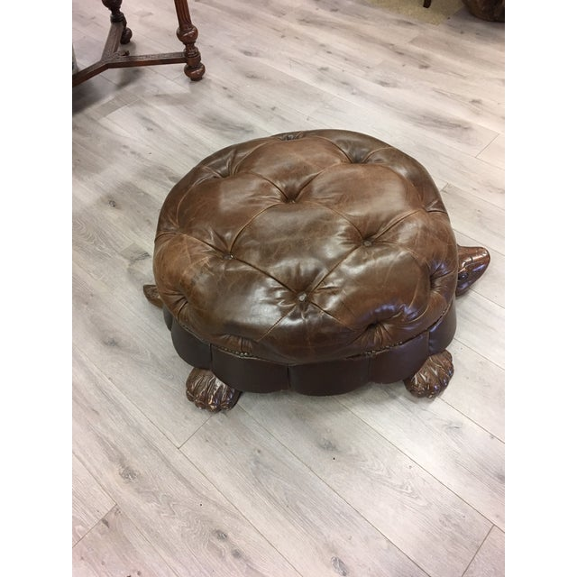 2010s Brown Leather Tufted Turtle Ottoman For Sale - Image 5 of 6