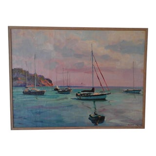 Contemporary Framed Boats at Sea Painting For Sale