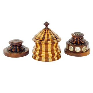 Antique Decorative Wood Objects - Set of 3 For Sale