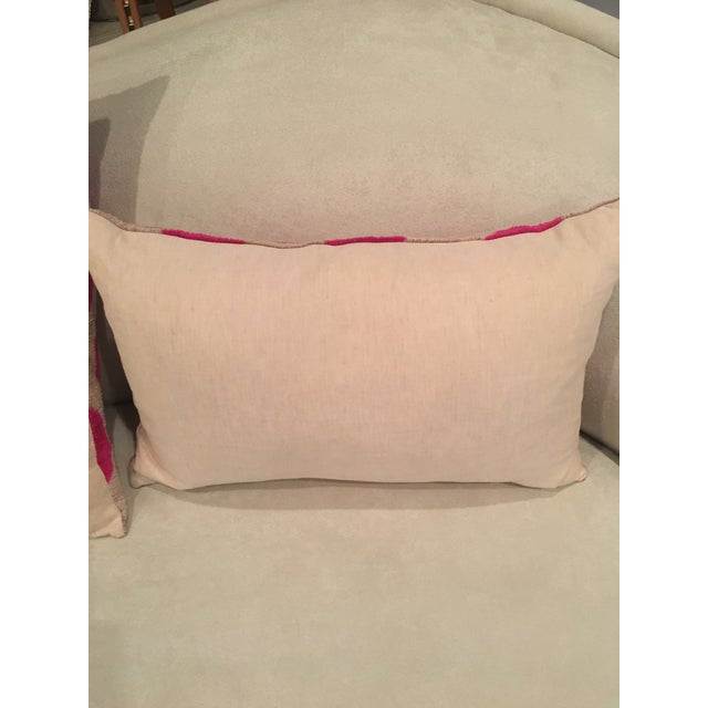 2010s Pink Dots Handmade Pillows - A Pair For Sale - Image 5 of 9