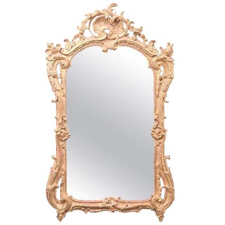 18th C. French Regence Carved Giltwood Mirror For Sale