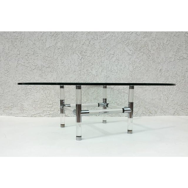Acrylic and Chrome Cocktail Table by Charles Hollis Jones - Image 4 of 6