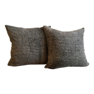 Faux Fur Sheared Chinchilla Pillow Shams in Taupe & Mushroom - a Pair For Sale
