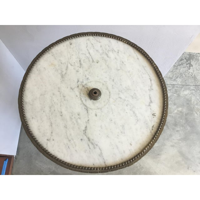 Metal Traditional Gold Cocktail Side Table With Marble Top For Sale - Image 7 of 9