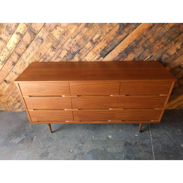 Mid-Century Walnut 9-Drawer Dresser - Image 7 of 7