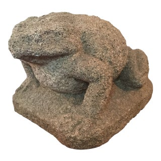 19th C. Vintage Japanese Carved Stone Frog Statue For Sale