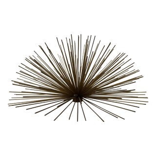 Large Brass Sunburst Wall Detail For Sale