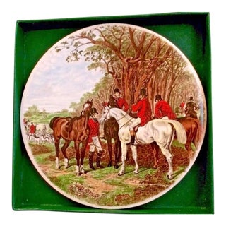 Richard E. Bishop Hunt Scene Horses Tile Trivet For Sale