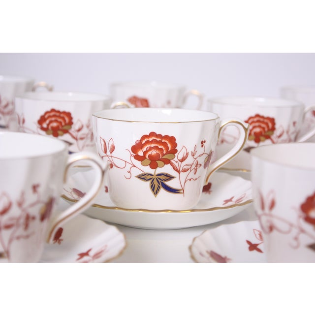 Ceramic Vintage Royal Crown Derby Bali Pattern Cups and Saucers - Set of 12 For Sale - Image 7 of 10