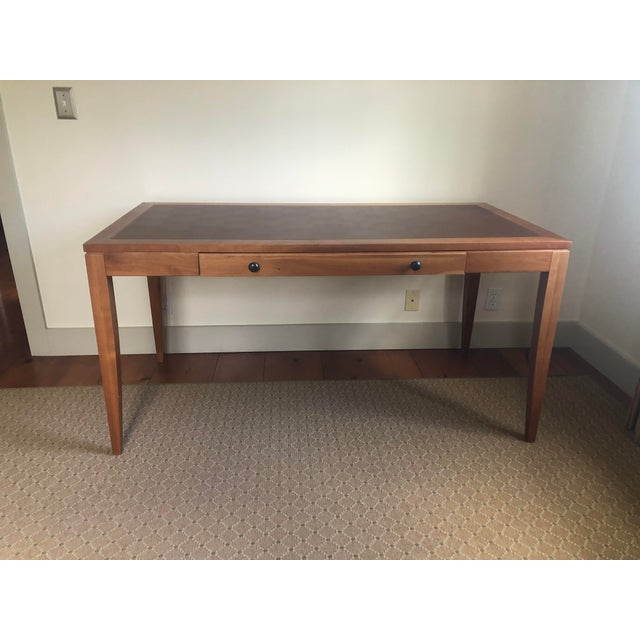 Brown Mid Century Writing Desk With Leather Top For Sale - Image 8 of 8