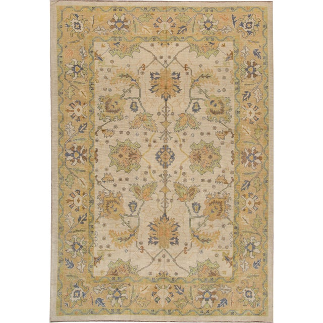 "Turkish Oushak Modern Rug - 10'2"" X 14'6"" For Sale"