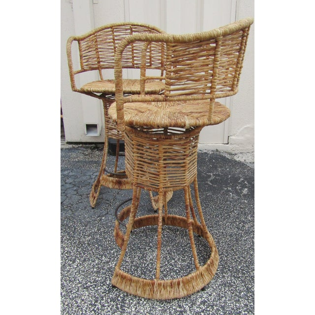 Vintage Woven Rattan Bar Stools / Counter Stools - a Pair For Sale - Image 4 of 12