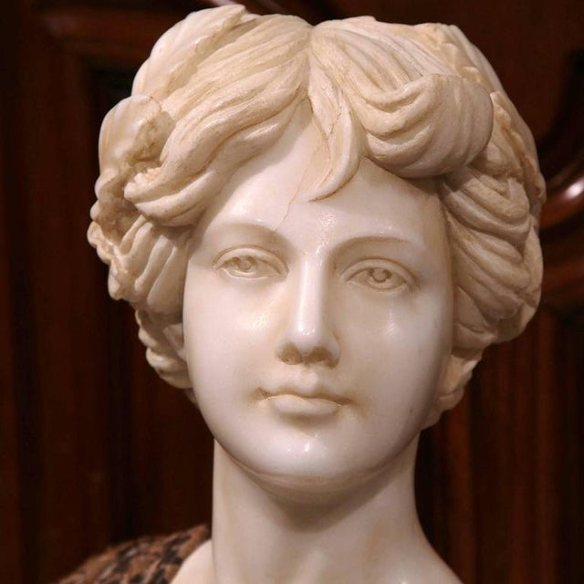 Italian Large 19th Century Italian Carved Marble Bust of Young Lady by Goose For Sale - Image 3 of 7