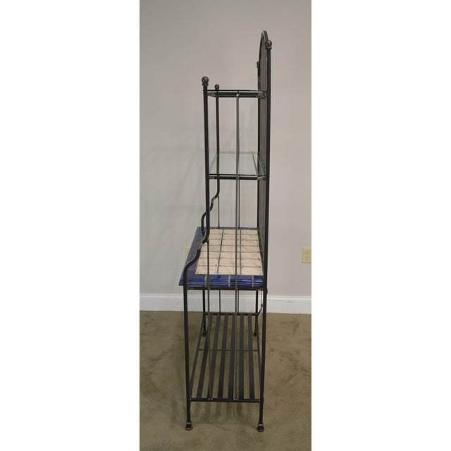 Quality Hand Forged Iron Bakers Rack With Tile Shelf For Sale - Image 4 of 9