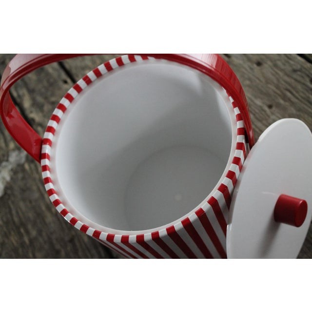 Mid-Century Red & White Ice Bucket, Tumblers and Tray Beverage Set - Image 8 of 11