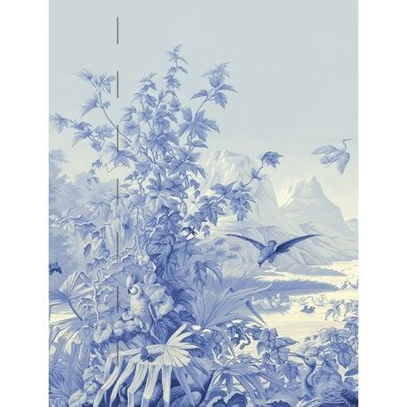 Chinoiserie Casa Cosima Cyan Brasilia Wallpaper Mural - Sample For Sale - Image 3 of 3