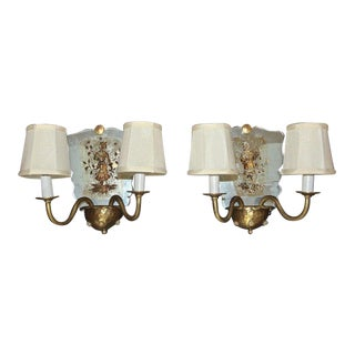 1940s Italian Mirrored Wall Light Sconces - a Pair For Sale