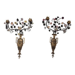 Antique Floral Porcelain & Bronze Urn Sconces- A Pair For Sale