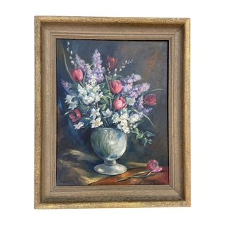 1920s Dutch Oil Style Painting of Flowers For Sale