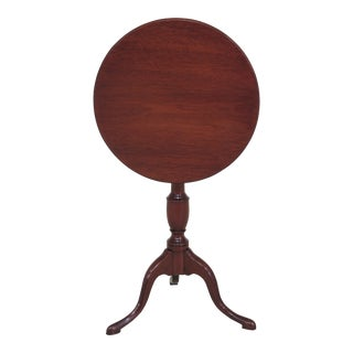 1960s Queen Anne Benchmade Solid Mahogany Revolving Tilt Top Table For Sale