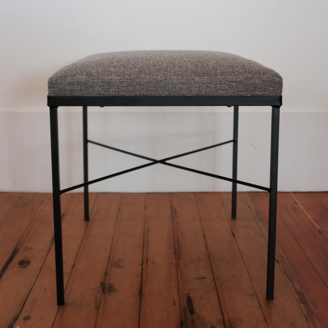 Pair of Iron X-Base Ottomans, 1950s For Sale - Image 4 of 8