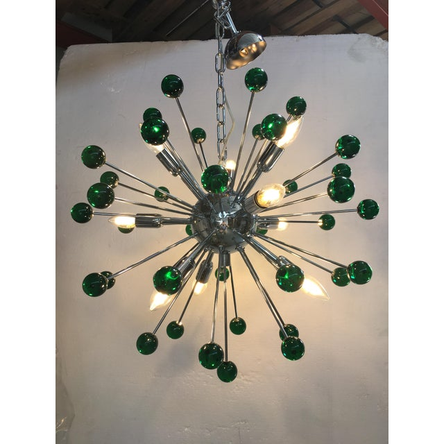 Blue Emerald Green Murano Glass Chandelier in Sputnik Style With a Chrome Base For Sale - Image 8 of 11