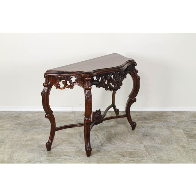 Wood Traditional Carved Wood Console Table, Vintage Carved Wood Console For Sale - Image 7 of 10