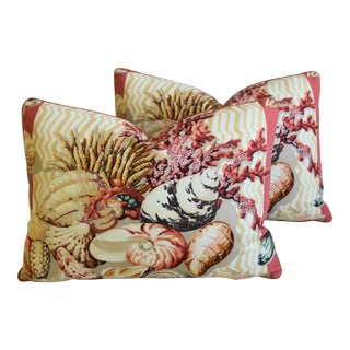 "Cowtan & Tout Seashell & Coral Feather/Down Pillows 23"" X 17"" - Pair For Sale"