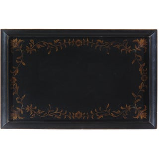 Pasargad Hand Painted Black Ground Gold Floral Side Table