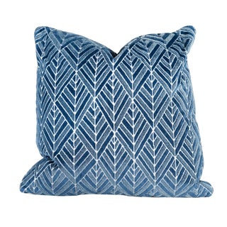 Transitional Diamond Navy Velvet Pillow With Navy Leather - 22 X 22 For Sale