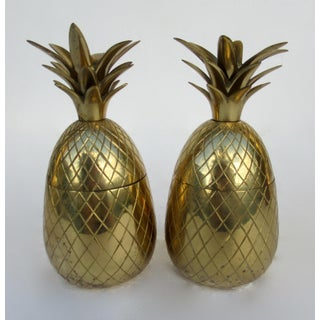 Vintage Brass Lidded Pineapple Containers Dual Candle Holders - a Pair Preview