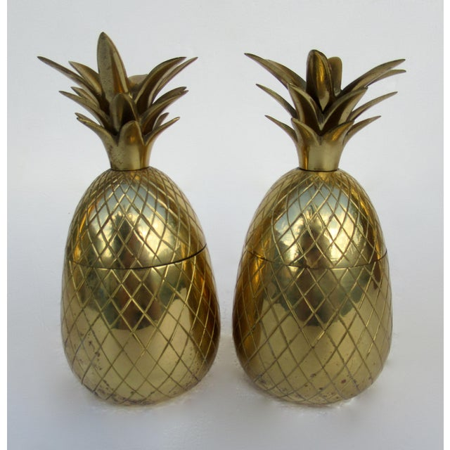Vintage; Mid-Century modern, pair of brass lidded pineapple containers, dual functional candle holders made in India....