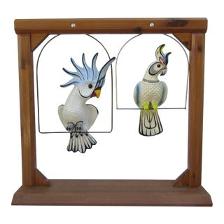 Mexican Folk Art Parrots on Wooden Stand For Sale