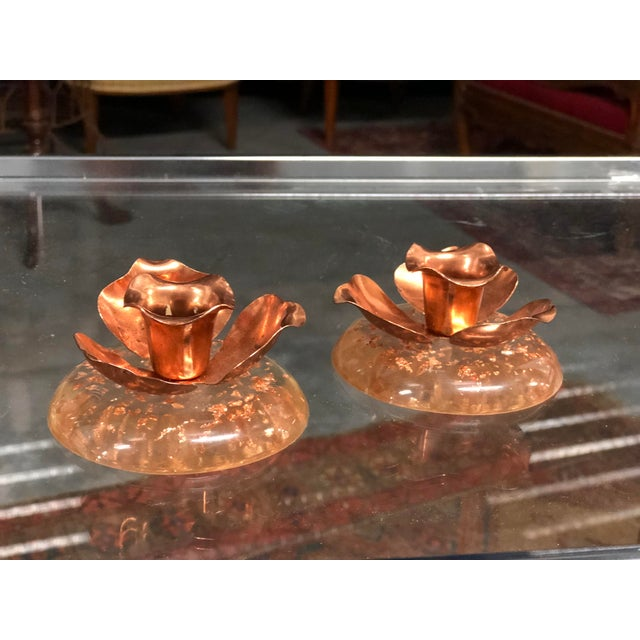 Metal Pair of Copper and Lucite Candle Holders For Sale - Image 7 of 7