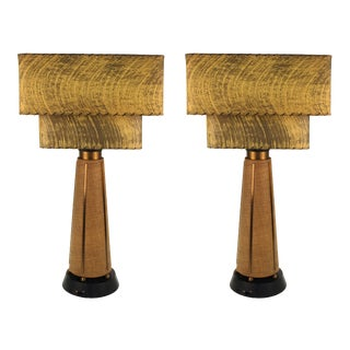 Mid-Century Modern Table Lamps with Shades - a Pair For Sale