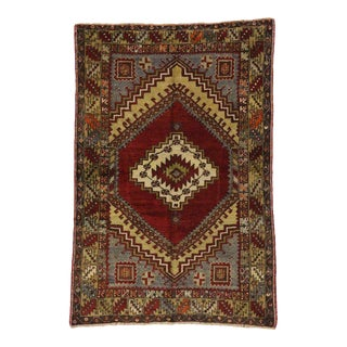 Vintage Turkish Oushak Accent Rug 03'08 X 05'05 For Sale