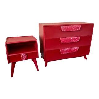 Red Mid-Century Modern Dresser & Nightstand - A Pair