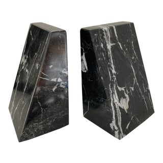 Vintage Marble Bookends Black and White For Sale