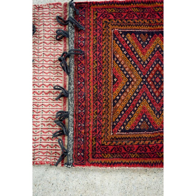 "Antique Balochistan Wool Tribal Saddlebag Rug - 1'8"" x 3'8"" For Sale - Image 9 of 12"