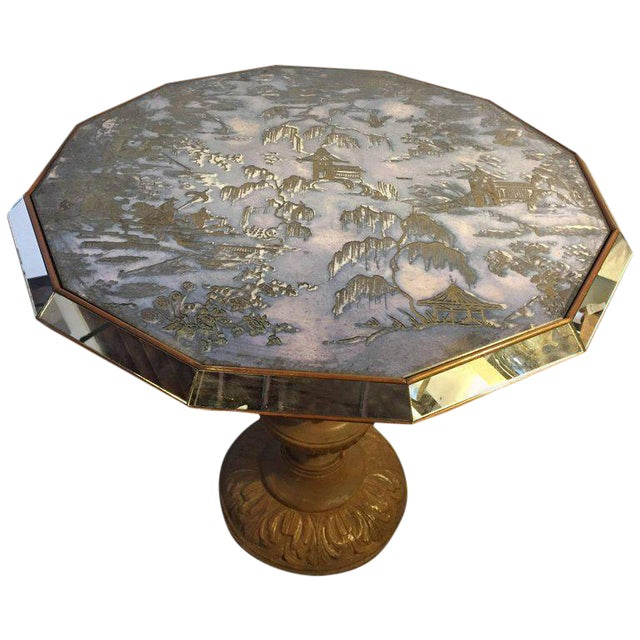 Chinoiserie Style Center Table with Eglomise Glass Top on a Single Pedestal For Sale