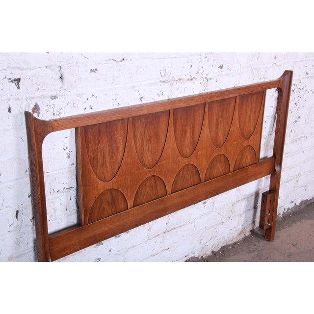1960s Broyhill Brasilia Mid-Century Modern Sculpted Walnut Queen Size Headboard For Sale - Image 5 of 8