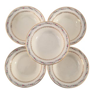Vintage Floral Berry Dessert Bowls - Set of 5 For Sale