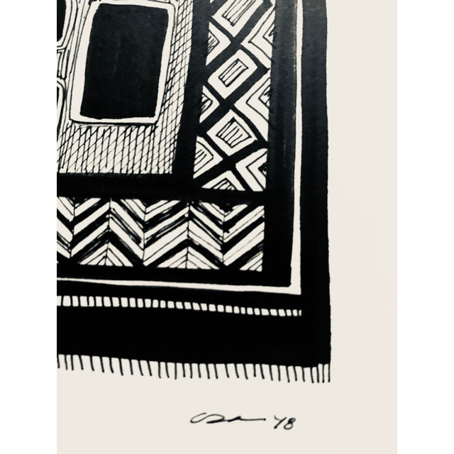 This original pen & ink drawing by textile designer and artist, Christy Almond, is a modern translation of a traditional...