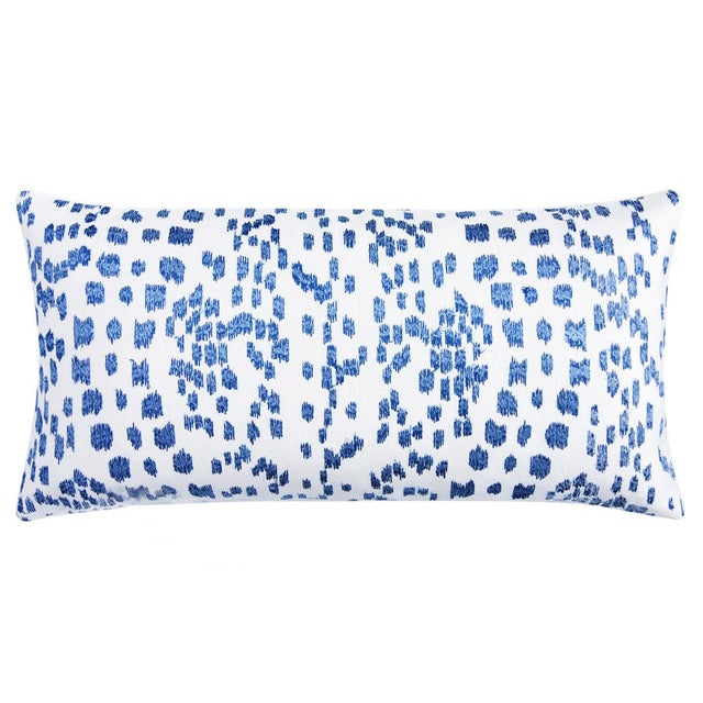 Les Touches Embroidered Pillow Cover in Canton Blue -Lumbar - 11x21 - Brunschwig and Fils - Decorative Pillow Cover -...