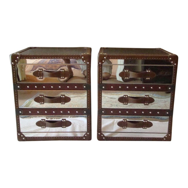Steamer Trunk Style 3 Drawer Cube Nightstands - Pair For Sale