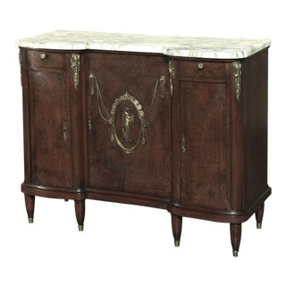 19th Century French Louis XVI Marble Top Buffet With Ormolu