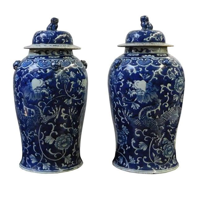 Chinese Blue & White Dragon Porcelain Jars - Pair - Image 1 of 6