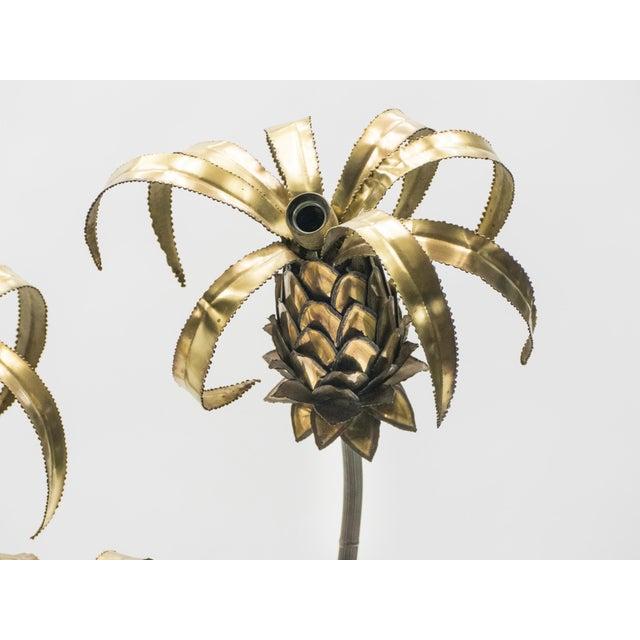 Rare Pair of Hollywood Regency Brass Maison Jansen Pineapple Floor Lamps, 1970s For Sale - Image 6 of 13