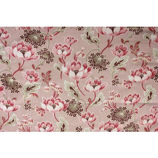 "Antique French Art Nouveau Pink Floral Printed Cotton Cretonne Fabric - 33"" x 85"" For Sale"